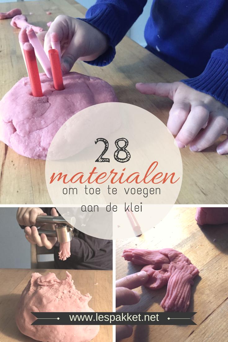 28 materialen om toe te voegen aan de klei - zelf klei maken - Lespakket