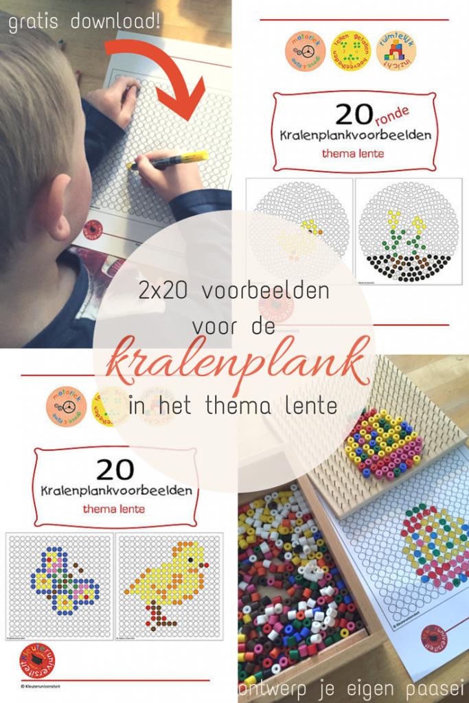 2x20 voorbeelden voor de kralenplank in het thema lente - met gratis download - Lespakket