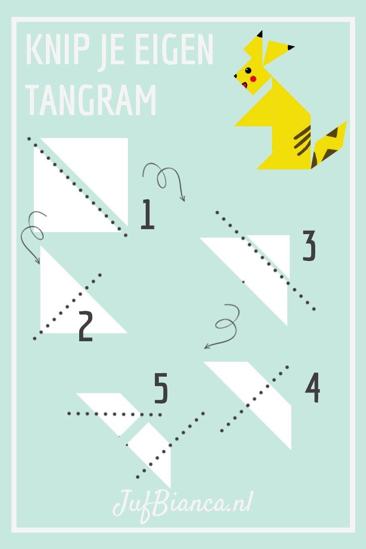 Knip je eigen tangram - Juf Bianca