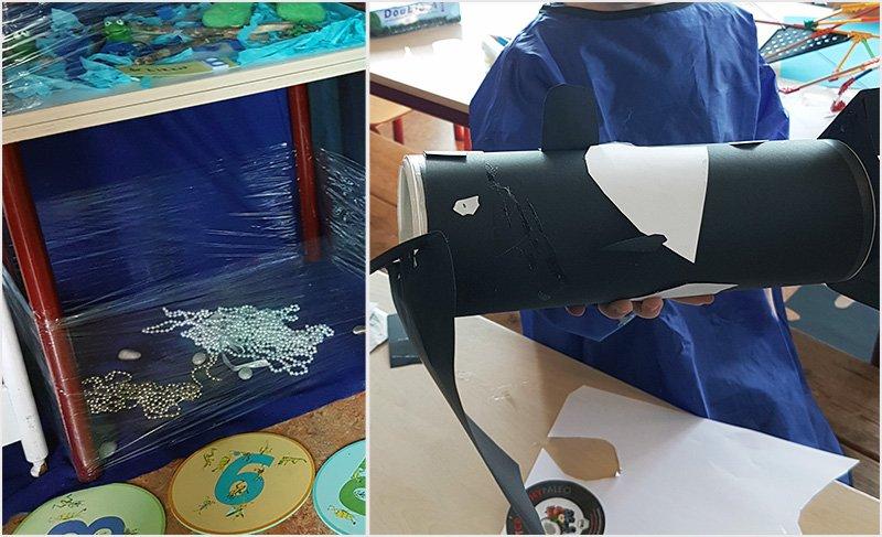 Themahoek inrichten door Wendy - Juf Bianca - de orka is klaar