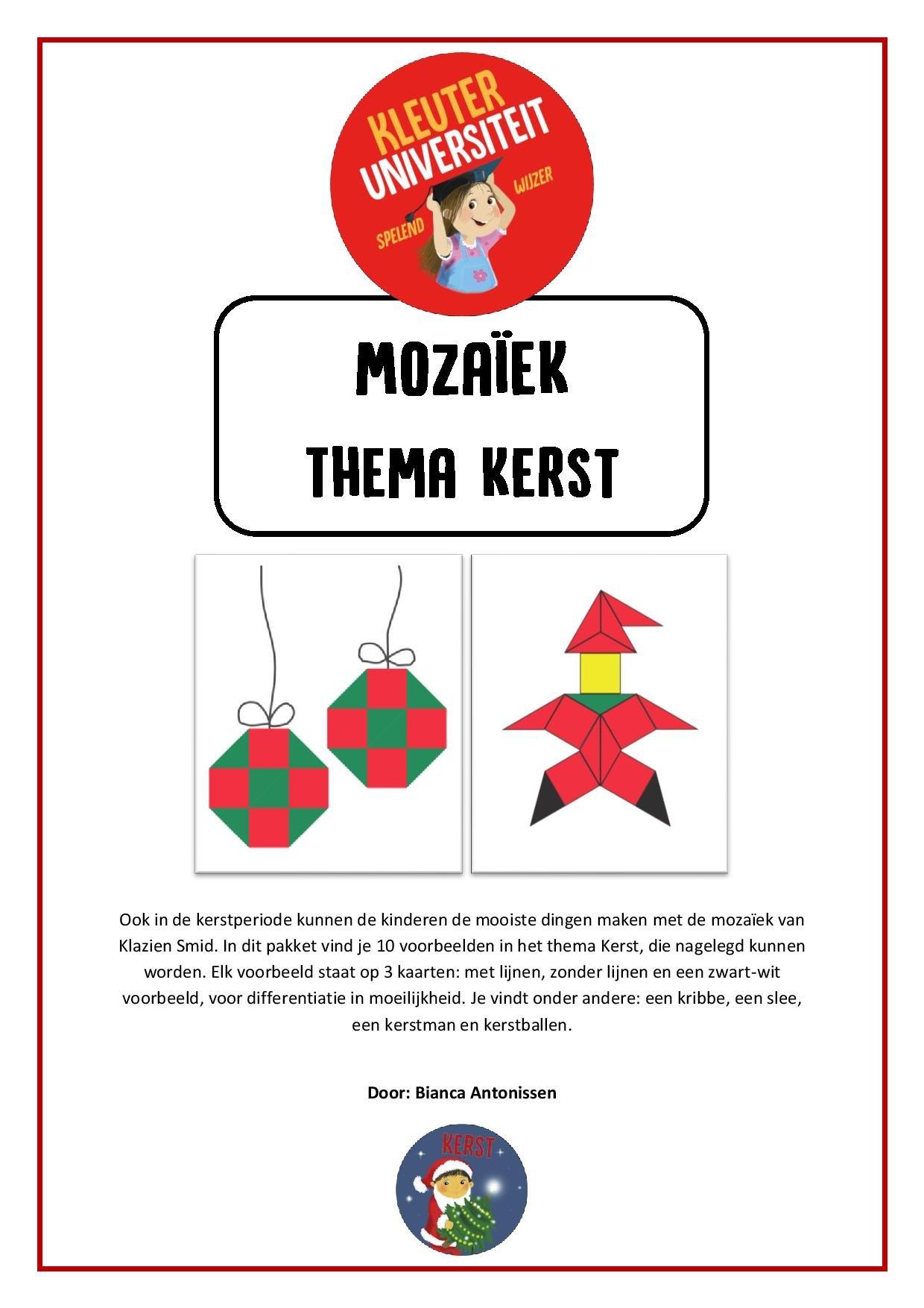 Kerst mozaïek voorbeelden - Juf Bianca bij Kleuteruniversiteit