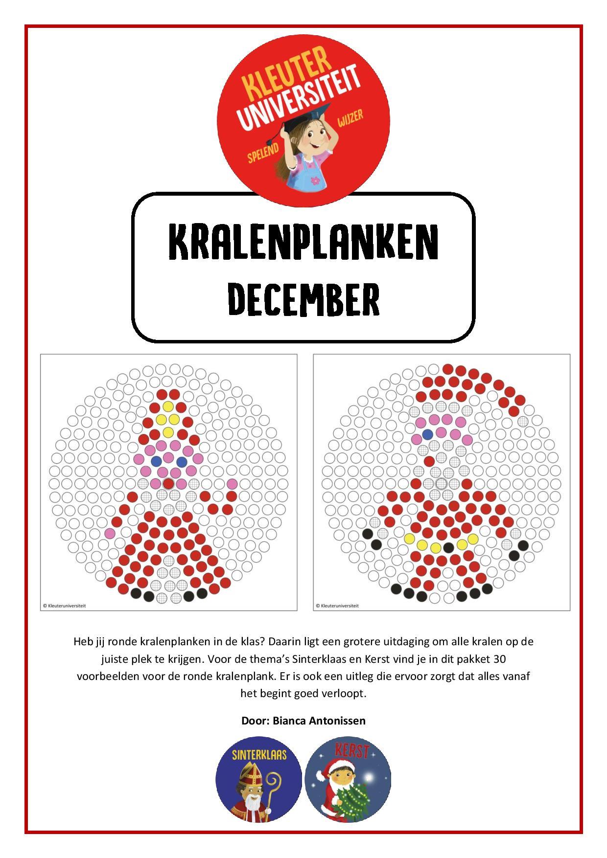 Kralenplanken december - Juf Bianca bij Kleuteruniversiteit